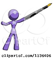 Purple Design Mascot Woman Pen Is Mightier Than The Sword Calligraphy Pose