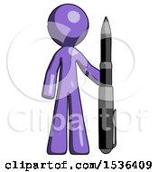 Purple Design Mascot Man Holding Large Pen