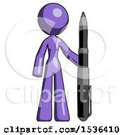Purple Design Mascot Woman Holding Large Pen