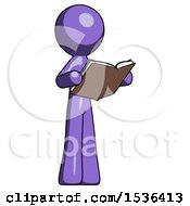 Purple Design Mascot Man Reading Book While Standing Up Facing Away
