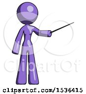 Purple Design Mascot Woman Teacher Or Conductor With Stick Or Baton Directing