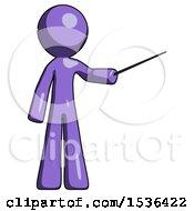 Purple Design Mascot Man Teacher Or Conductor With Stick Or Baton Directing
