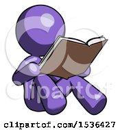 Purple Design Mascot Woman Reading Book While Sitting Down