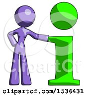Purple Design Mascot Woman With Info Symbol Leaning Up Against It