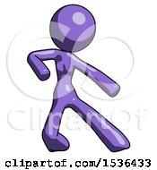 Purple Design Mascot Woman Karate Defense Pose Right