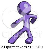 Purple Design Mascot Man Karate Defense Pose Left