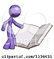 Purple Design Mascot Woman Reading Big Book While Standing Beside It