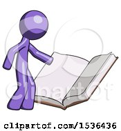 Purple Design Mascot Man Reading Big Book While Standing Beside It