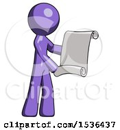 Purple Design Mascot Man Holding Blueprints Or Scroll