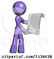 Purple Design Mascot Woman Holding Blueprints Or Scroll