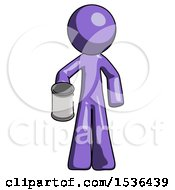Purple Design Mascot Man Begger Holding Can Begging Or Asking For Charity