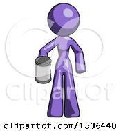 Purple Design Mascot Woman Begger Holding Can Begging Or Asking For Charity