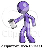 Purple Design Mascot Man Begger Holding Can Begging Or Asking For Charity Facing Left