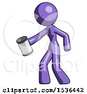 Purple Design Mascot Woman Begger Holding Can Begging Or Asking For Charity Facing Left