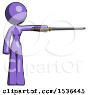 Purple Design Mascot Woman Standing With Ninja Sword Katana Pointing Right