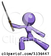 Purple Design Mascot Woman With Ninja Sword Katana In Defense Pose