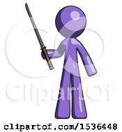 Purple Design Mascot Man Standing Up With Ninja Sword Katana