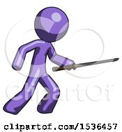 Purple Design Mascot Man Stabbing With Ninja Sword Katana