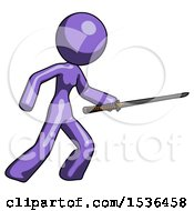 Purple Design Mascot Woman Stabbing With Ninja Sword Katana
