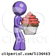 Purple Design Mascot Man Holding Large Cupcake Ready To Eat Or Serve