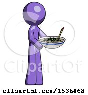 Purple Design Mascot Man Holding Noodles Offering To Viewer