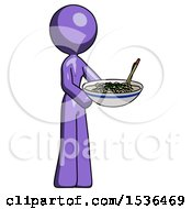 Purple Design Mascot Woman Holding Noodles Offering To Viewer