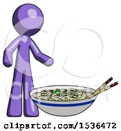 Purple Design Mascot Man And Noodle Bowl Giant Soup Restaraunt Concept