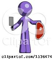 Purple Design Mascot Man Holding Large Steak With Butcher Knife