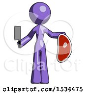 Purple Design Mascot Woman Holding Large Steak With Butcher Knife