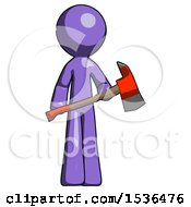 Purple Design Mascot Man Holding Red Fire Fighters Ax