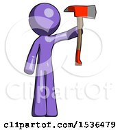 Purple Design Mascot Man Holding Up Red Firefighters Ax