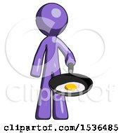 Purple Design Mascot Man Frying Egg In Pan Or Wok