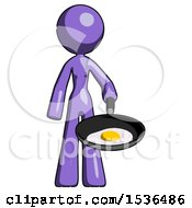 Purple Design Mascot Woman Frying Egg In Pan Or Wok