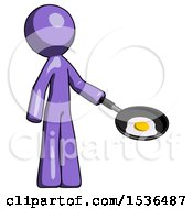 Purple Design Mascot Man Frying Egg In Pan Or Wok Facing Right