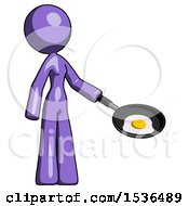 Purple Design Mascot Woman Frying Egg In Pan Or Wok Facing Right