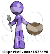 Purple Design Mascot Man With Empty Bowl And Spoon Ready To Make Something