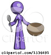 Purple Design Mascot Woman With Empty Bowl And Spoon Ready To Make Something