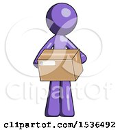 Purple Design Mascot Man Holding Box Sent Or Arriving In Mail