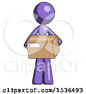Purple Design Mascot Woman Holding Box Sent Or Arriving In Mail