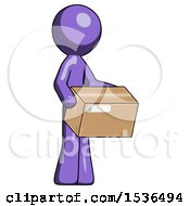 Purple Design Mascot Man Holding Package To Send Or Recieve In Mail