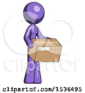 Purple Design Mascot Woman Holding Package To Send Or Recieve In Mail