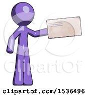 Purple Design Mascot Man Holding Large Envelope