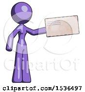 Purple Design Mascot Woman Holding Large Envelope