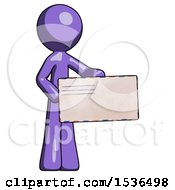 Purple Design Mascot Man Presenting Large Envelope