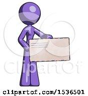 Purple Design Mascot Woman Presenting Large Envelope