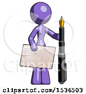 Purple Design Mascot Woman Holding Large Envelope And Calligraphy Pen