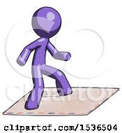 Purple Design Mascot Man On Postage Envelope Surfing