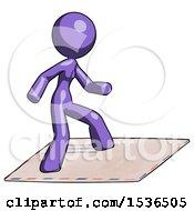 Purple Design Mascot Woman On Postage Envelope Surfing