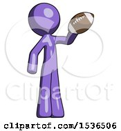 Purple Design Mascot Man Holding Football Up