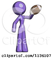Purple Design Mascot Woman Holding Football Up